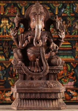 Wooden Seated Abhaya Ganesh Statue 36