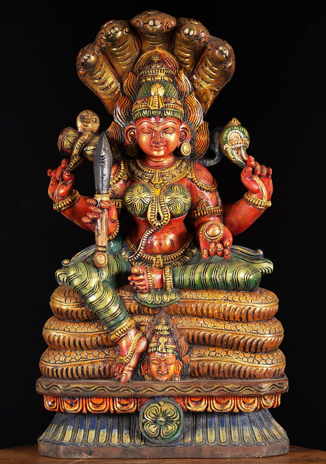"What Is Freight Shipping >> SOLD Wood Shakti Mariamman on 5 Headed Snake 26"" (#76w19cs): Hindu Gods & Buddha Statues"