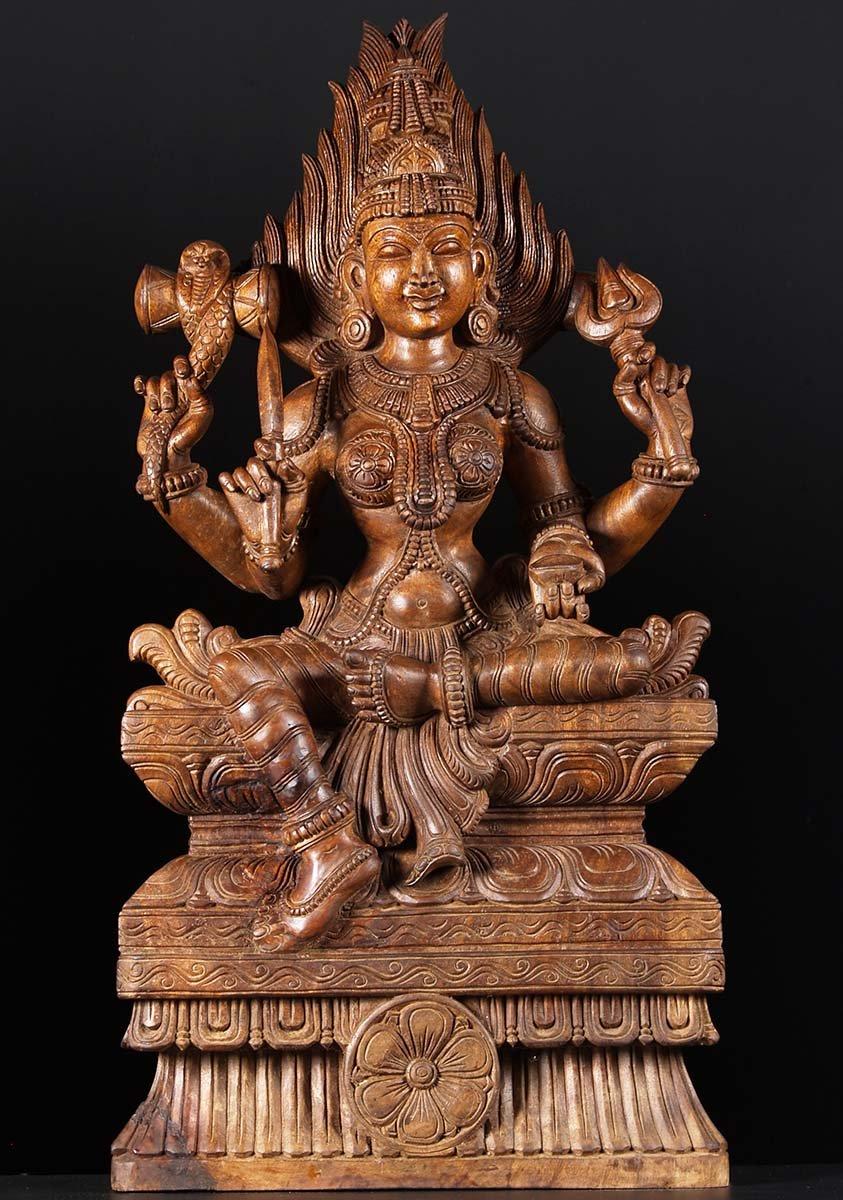 Sold Shakti Marriaman Wooden Carving 36 76w2w Hindu