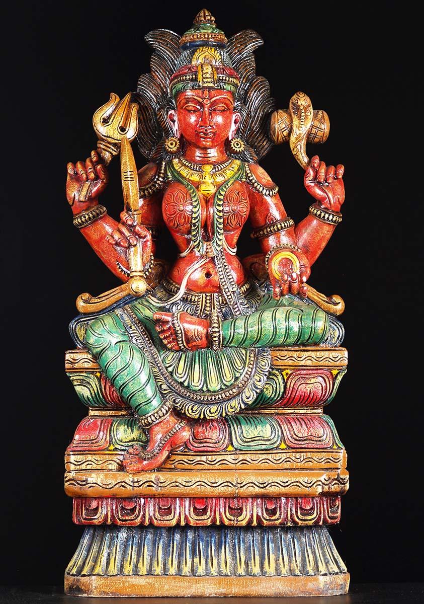"""SOLD Wood Shakti Mariamman Statue 30"""" (#76w19ac): Hindu ..."""
