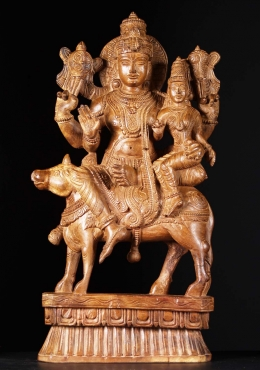 Wooden Vishnu & Lakshmi Seated On Nandi 31