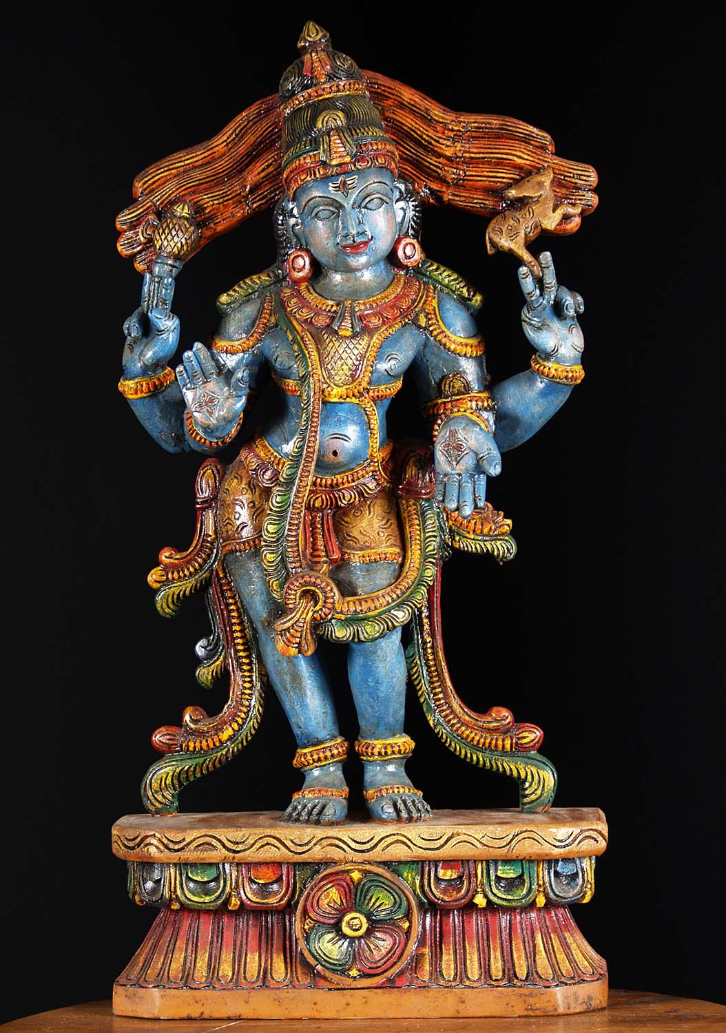 Sold Wooden Blue Standing Shiva Statue 30 Quot 76w19cp