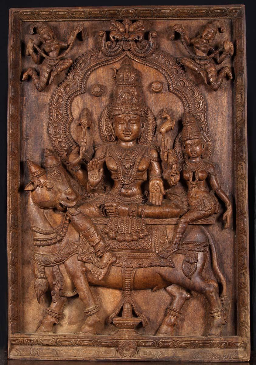 Sold Shiva Parvati Nandi Wood Panel 39 Quot 76w22 Hindu