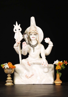 White Marble Shiva Seated on Mnt Kailash 18