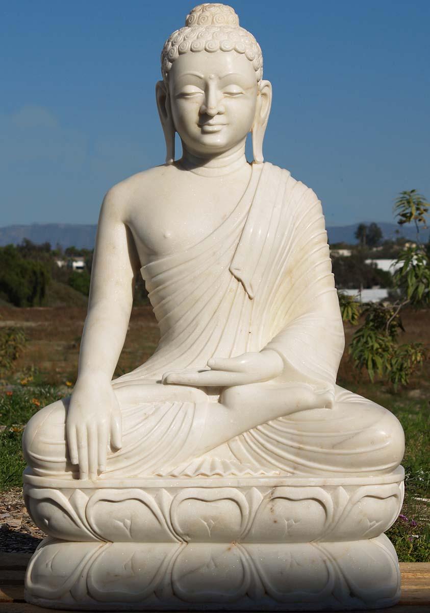 Sold Sitting Buddha White Marble 43 Quot 80wm9 Hindu Gods