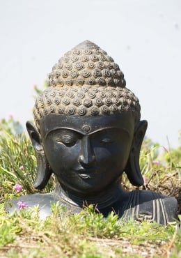 Stone Buddha Bust with Swirling Third Eye 18