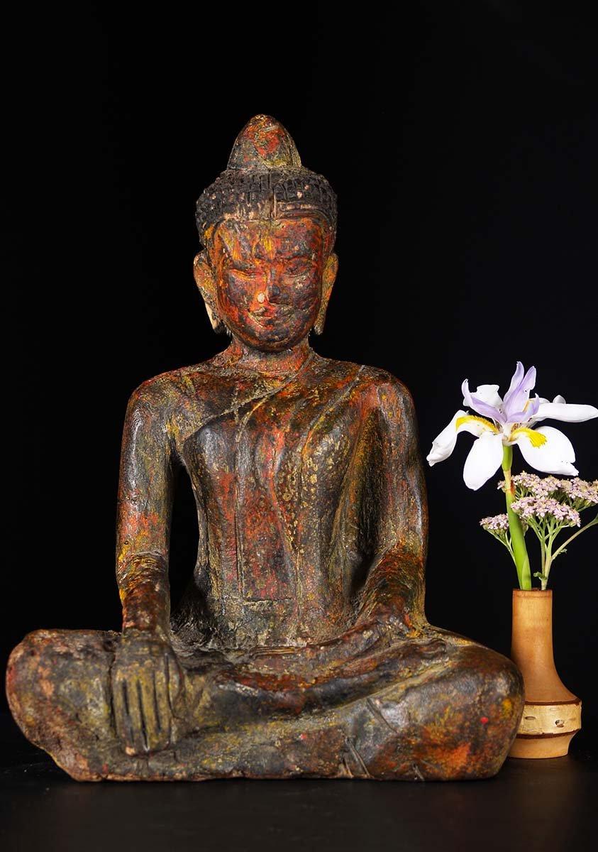 Sold Small Cambodian Wood Buddha Statue 12 Quot 84w2 Hindu