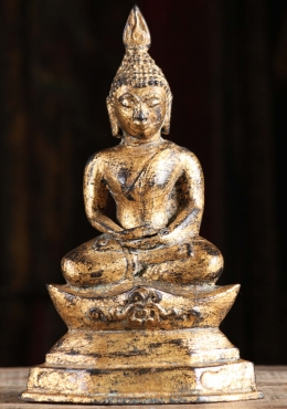 Gold Leaf Meditating Thai Buddha Statue 11
