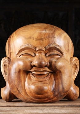Wood Fat & Happy Buddha Mask Wall Hanging 20