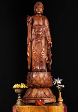 Wood Buddha on Blooming Lotus Base 29