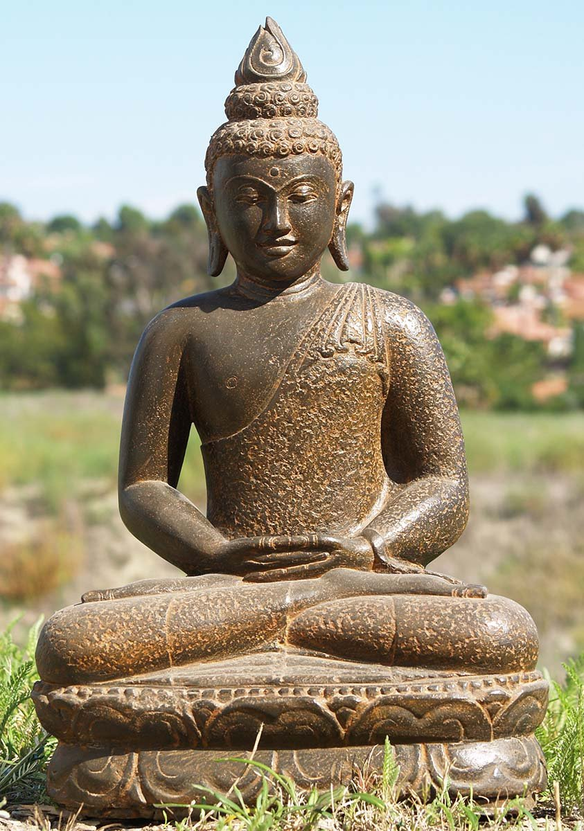 stone meditating buddha garden statue 25 85ls164. Black Bedroom Furniture Sets. Home Design Ideas