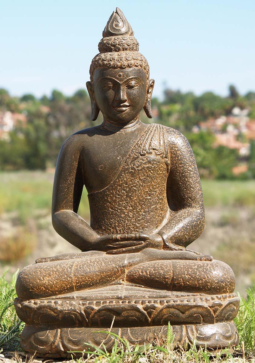 "Buddha Statues For The Garden: Stone Meditating Buddha Garden Statue 25"" (#85ls164"