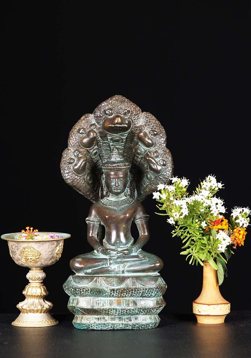 Small Brass Meditating Naga Buddha Statue 12 Quot 82t29