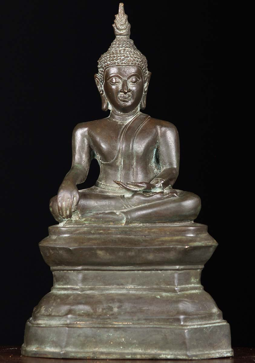 brass earth touching thai buddha statue 11 83t32. Black Bedroom Furniture Sets. Home Design Ideas
