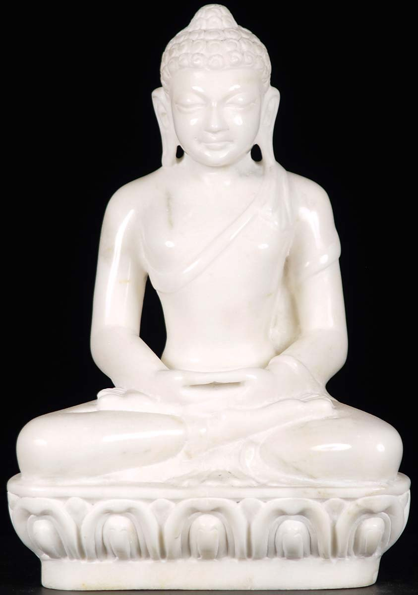 Sold Small White Marble Buddha Statue 12 Quot 71wm14b