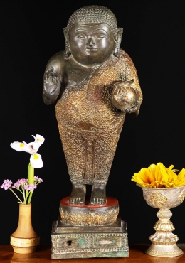 Brass Songachai Fat Buddha Gold In Hand 15