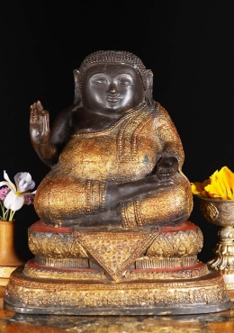 Songachai Seated Fat Buddha Thai Abhaya 12