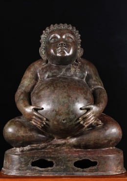 Thai Songachai Fat & Happy Buddha Sculpture 37