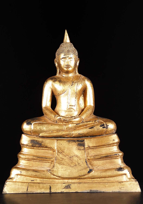 Brass Sontorn Style Meditating Thai Buddha Statue 21