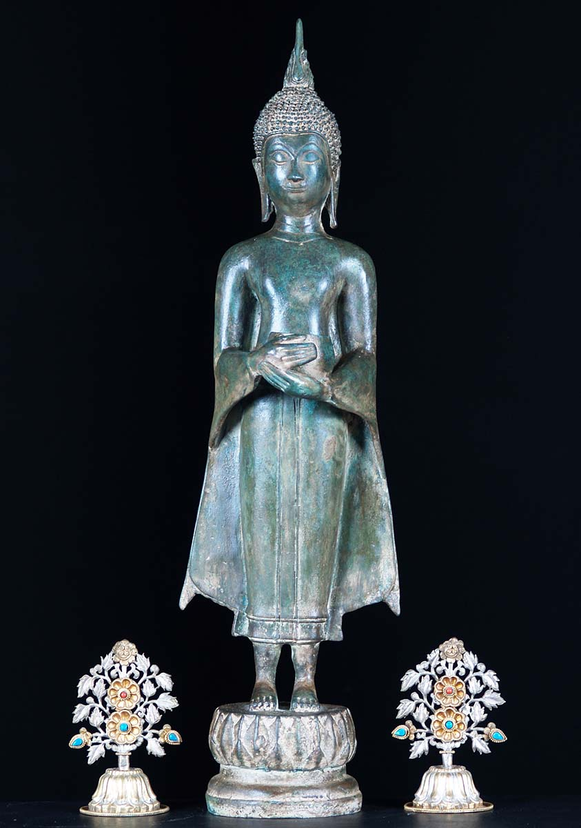 Sold Brass Standing Thai Buddha Holding Alms Bowl 24