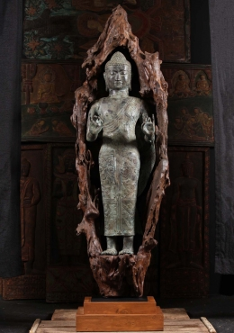 Brass Standing Buddha Encased in Natural Wood 65