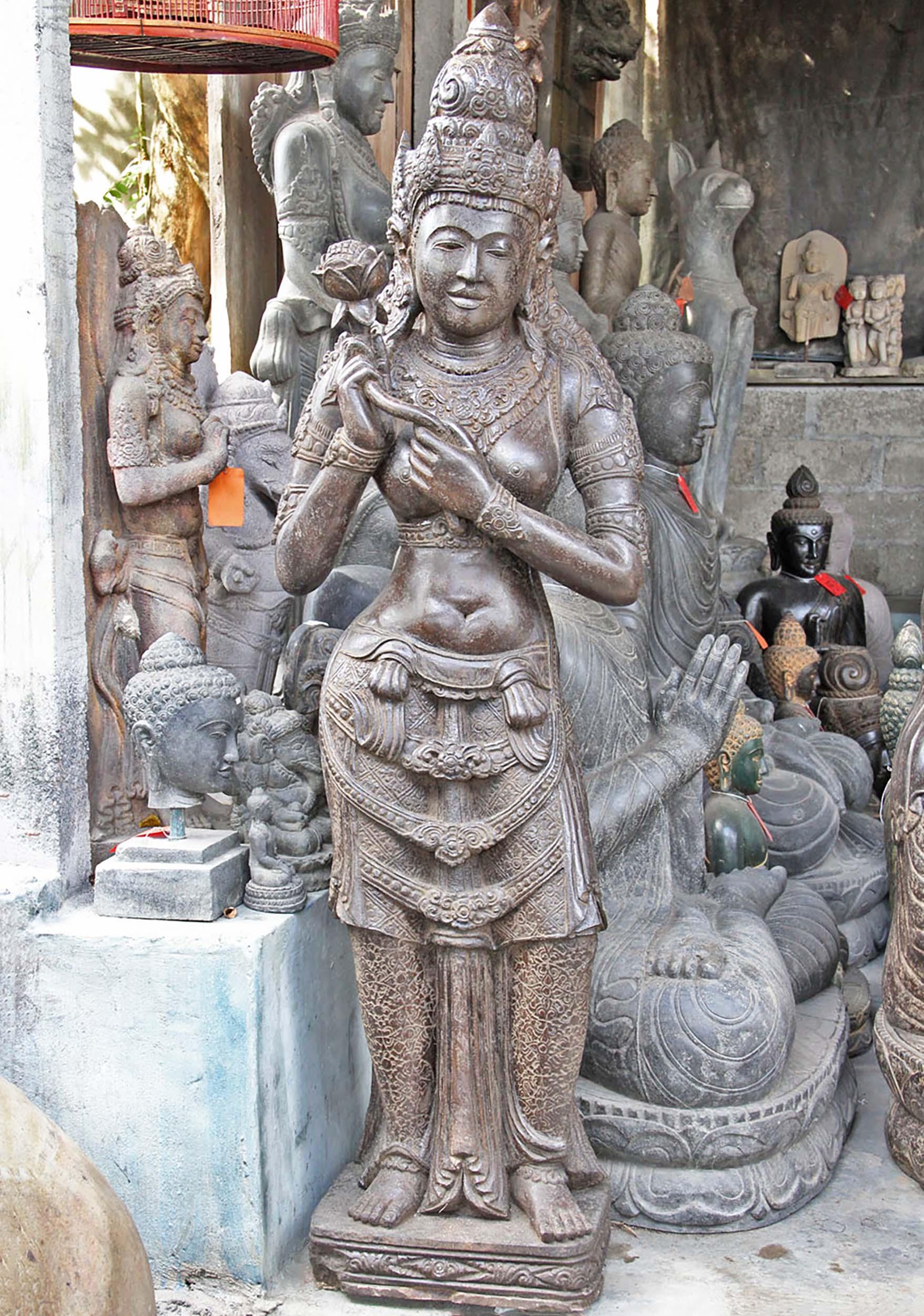 standing devi sculpture garden stone 69 96ls18 hindu