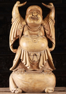 Wood Standing Fat & Happy Buddha Sculpture 40