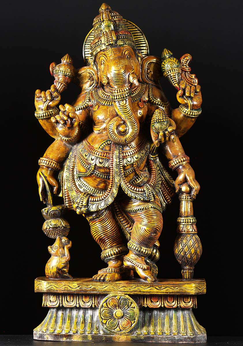 Sold Standing Ganesh Wood Statue 36 Quot 76w2l Hindu Gods