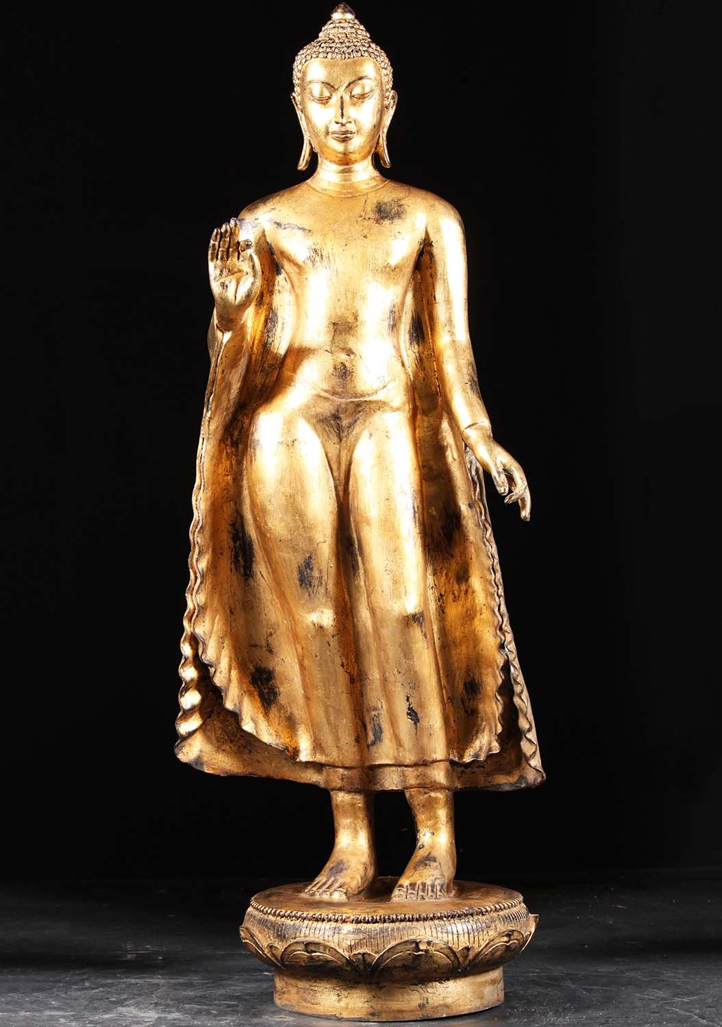 Sold Gold Leaf Standing Gupta Buddha Statue 57 Quot 82t51a
