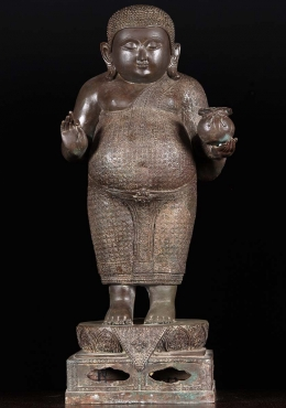 Brass Hotei Teaching Buddha Statue with Gold Bag 31