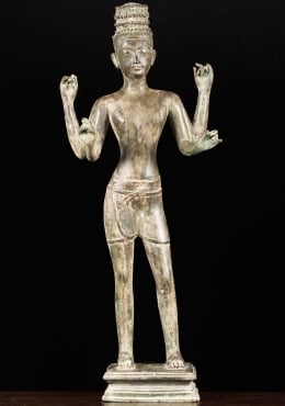 Brass Standing Shiva Statue in Khmer Style 28