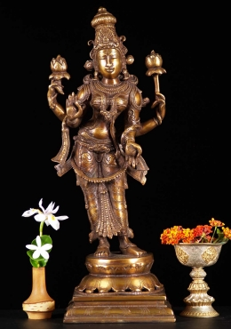 Brass Standing Lakshmi with 2 Lotus Flowers 19
