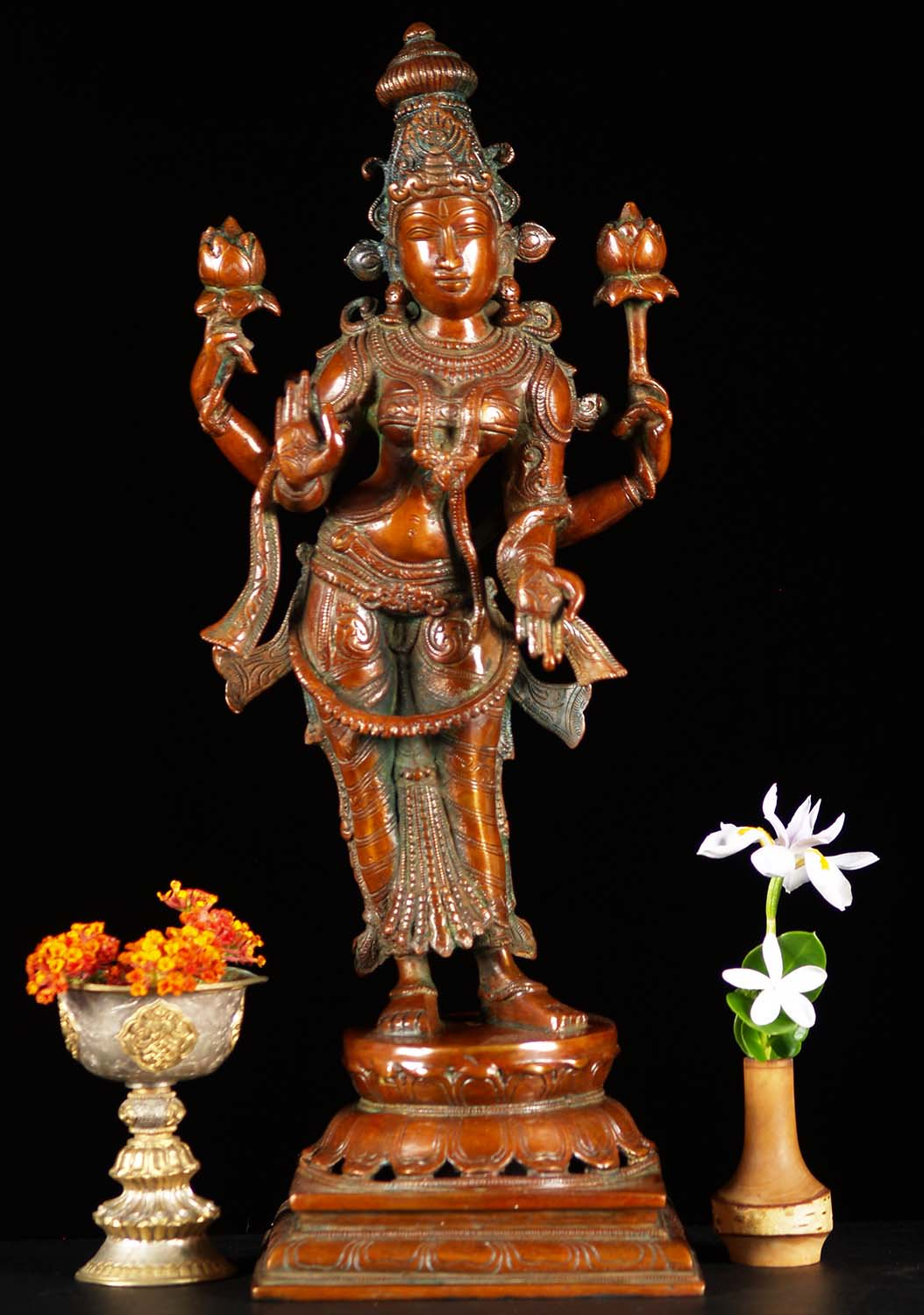 Brass Standing Lakshmi With 2 Lotus Flowers 19 Quot 61bs39z