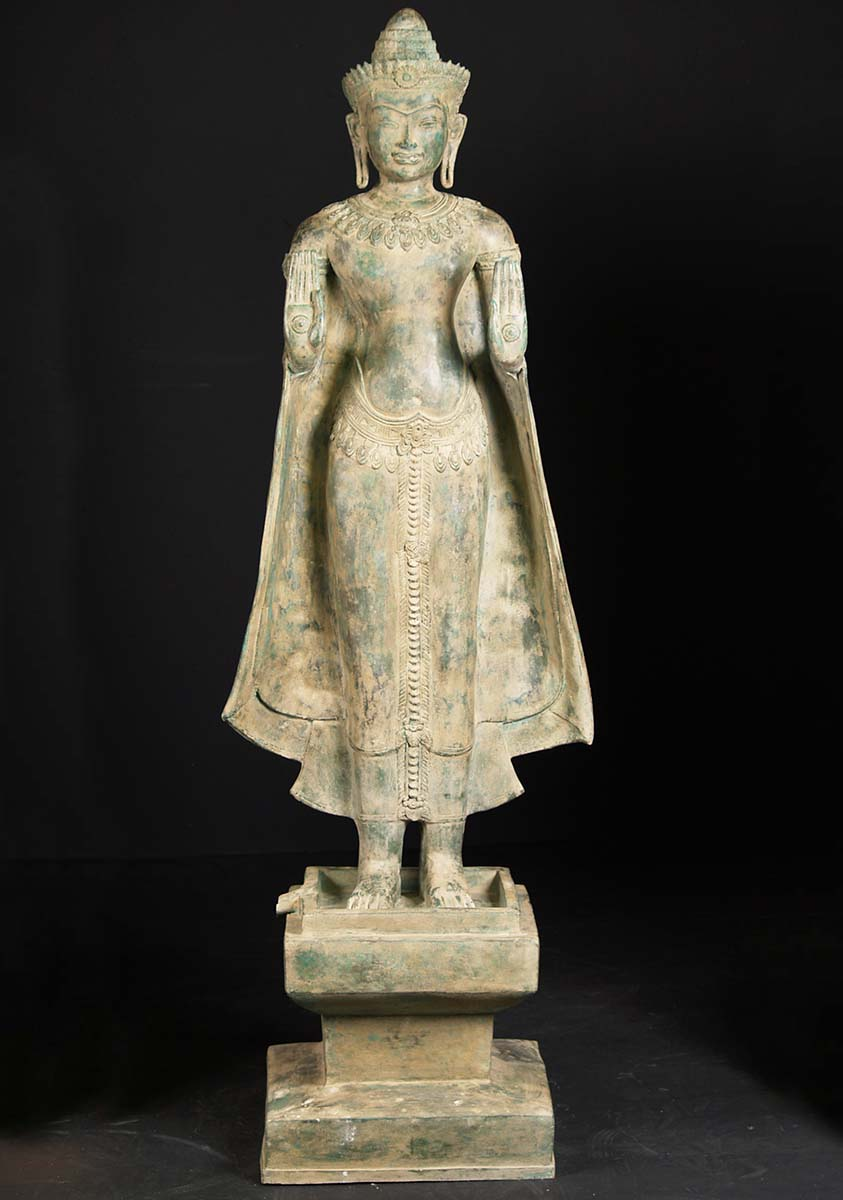 Sold Standing Large Brass Buddha Statue 78 Quot 82t85