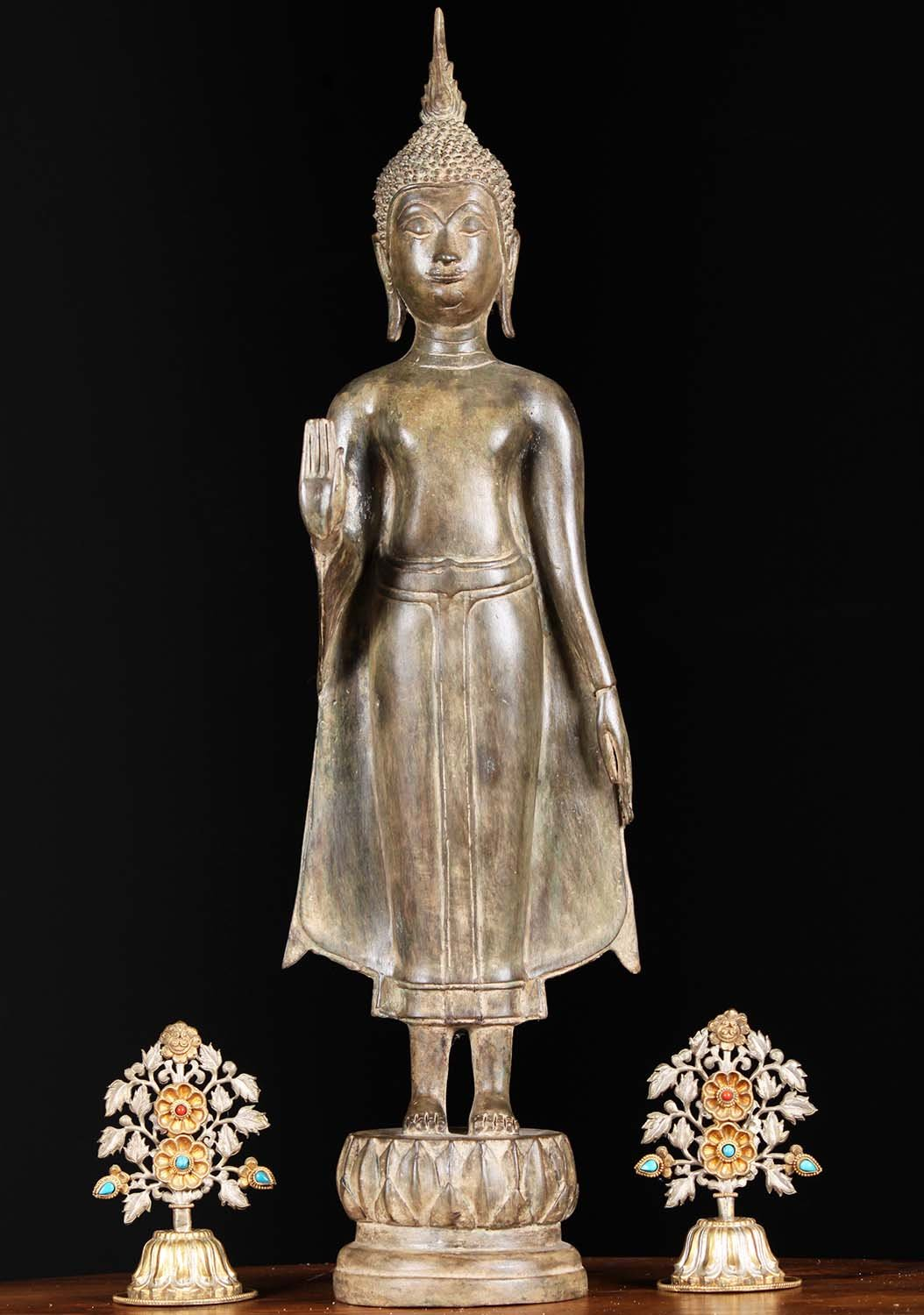 "What Is Freight Shipping >> Thai Brass Standing Sukhothai Buddha 23"" (#81t87z): Hindu ..."