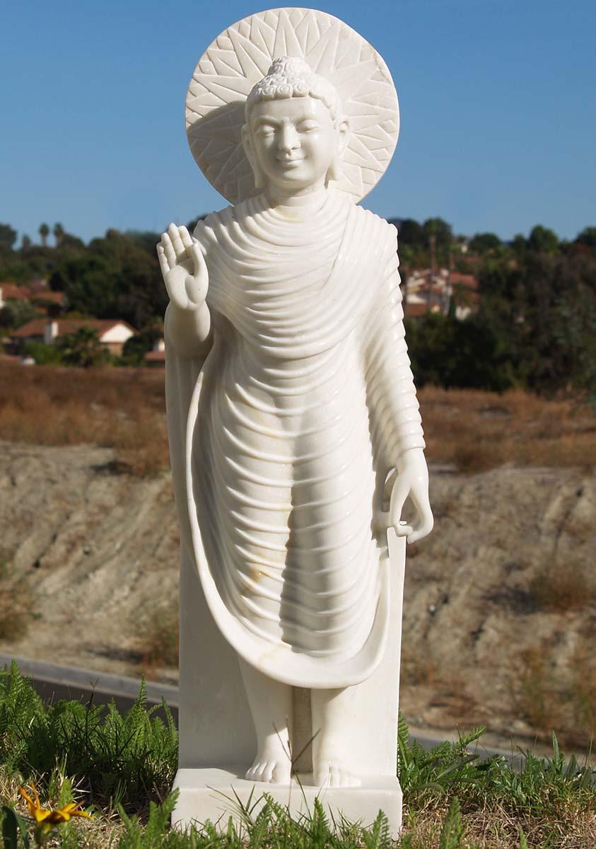 Sold White Marble Abhaya Mudra Buddha Statue 31 Quot 80wm1