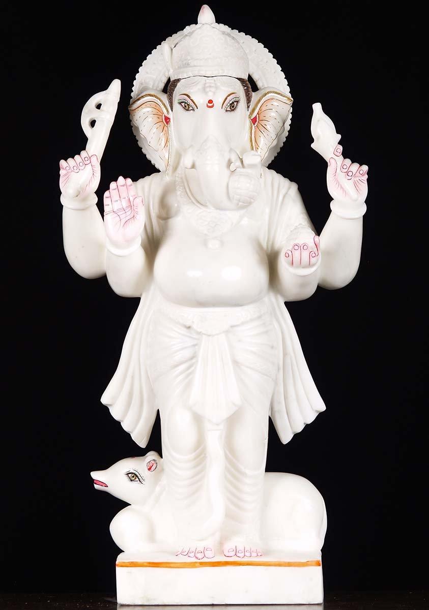 Standing White Marble Ganesh 29 Quot 71wm40 Hindu Gods