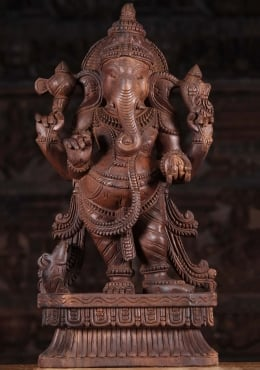 Wood Standing Ganapathi Sculpture 24