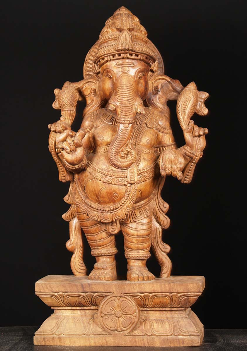 Sold wood standing ganesh carving quot w dq hindu