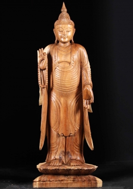 Wooden Standing Buddha With Mala Beads 65