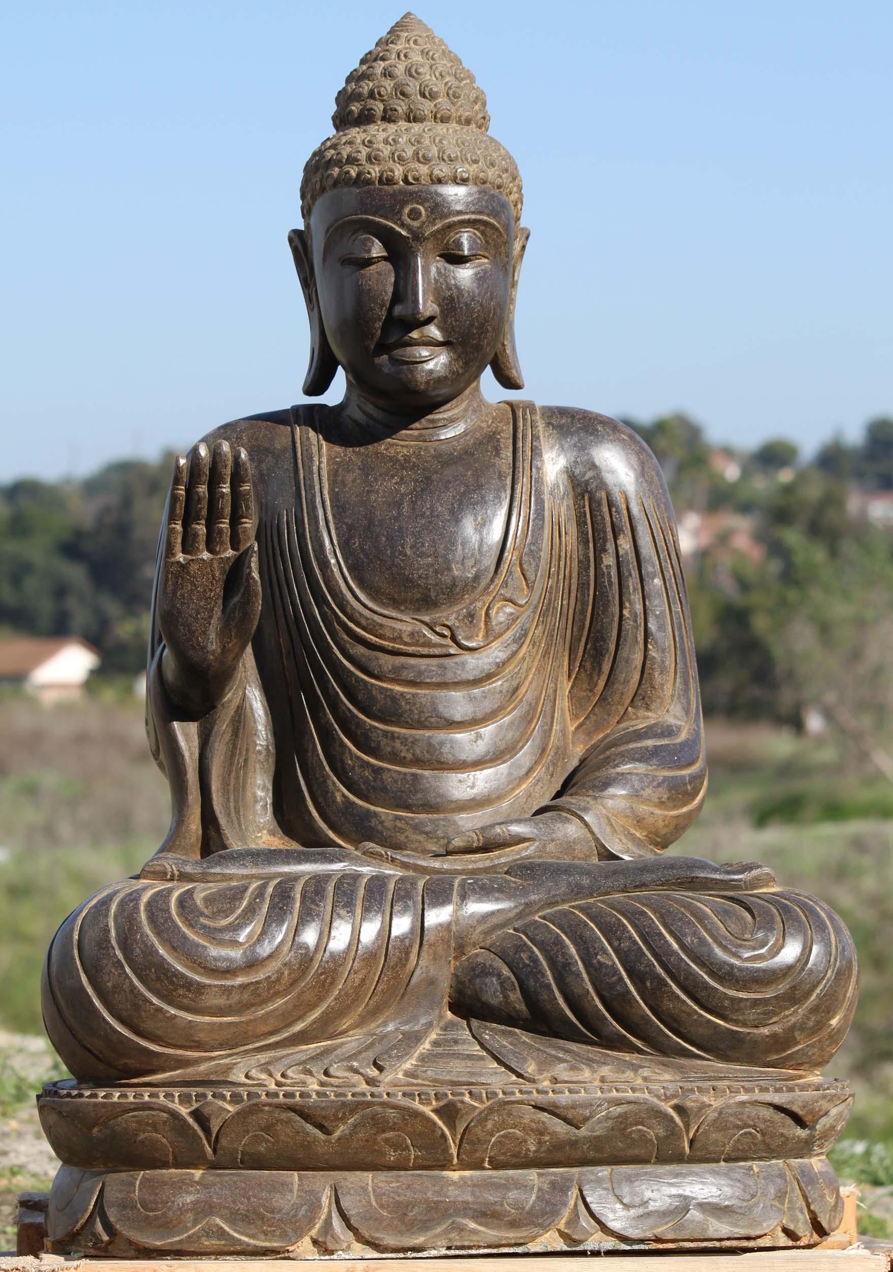 Sold Stone Abhaya Mudra Garden Buddha Statue 41