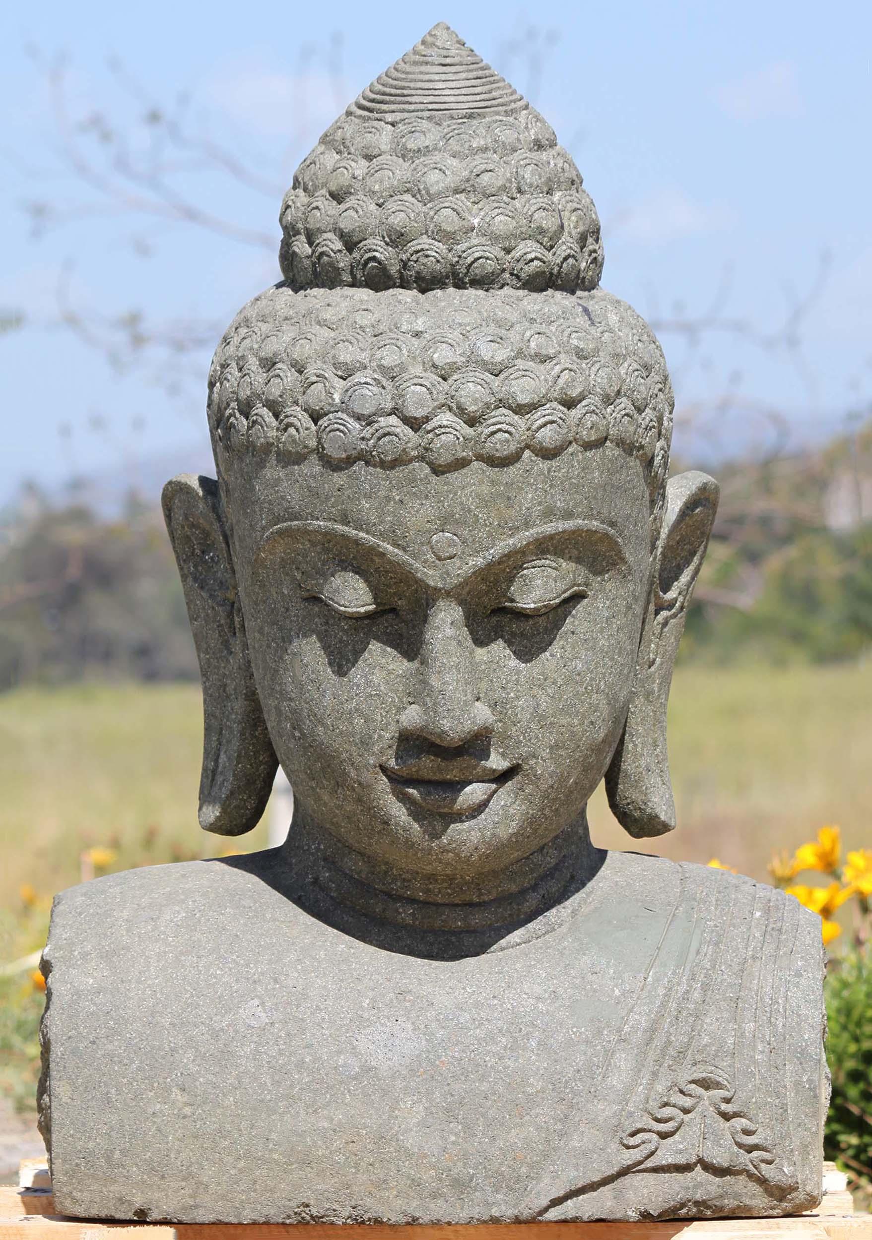 "Hand-Carved 11"" Asian Buddha Stone Head Outdoor Garden Sculpture"