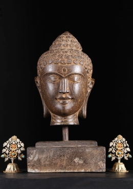 Stone Buddha Bust Statue with Base 19