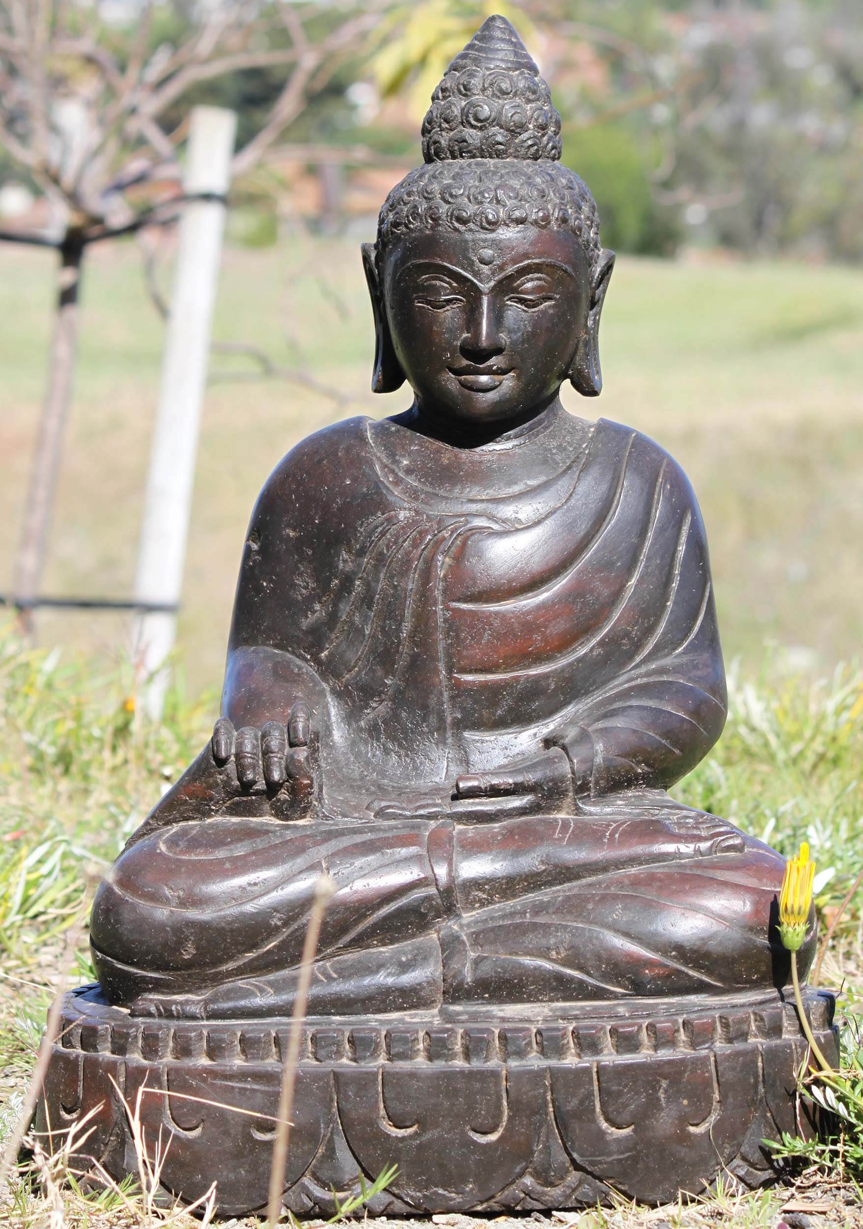 sold stone buddha garden statue 23 105ls481 hindu. Black Bedroom Furniture Sets. Home Design Ideas