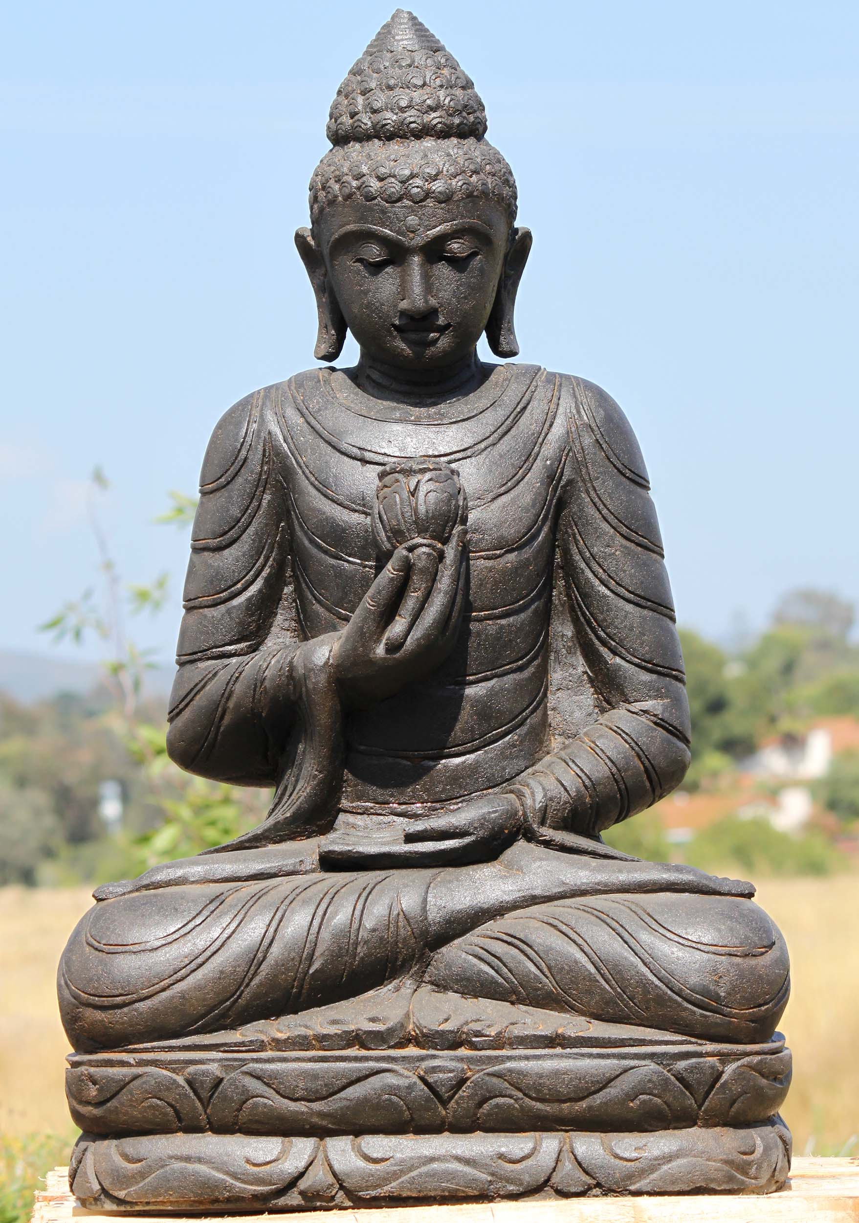 Sold Stone Buddha Statue Holding A Lotus Flower 38 96ls339