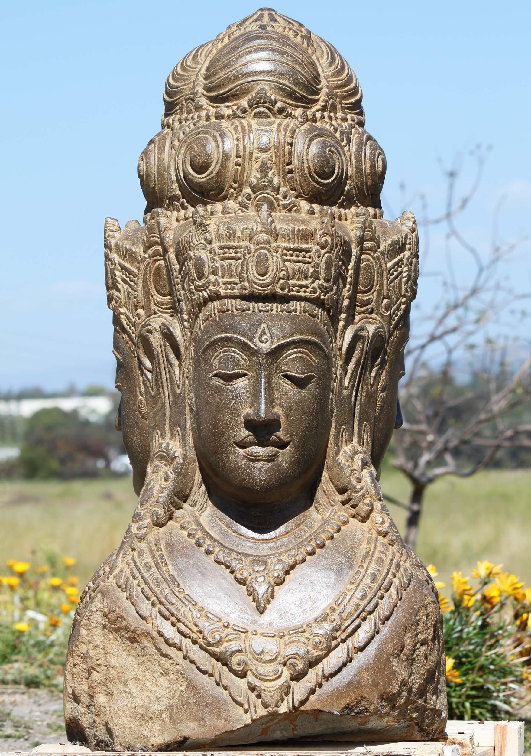 3dee22ac2697f Stone Dattatreya Trimurthi Bust Statue 40