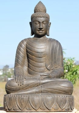 Stone Earth Touching Buddha Sculpture 39