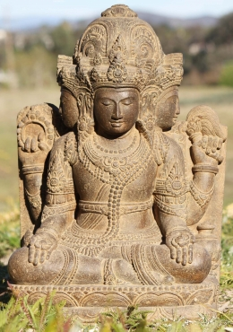 Stone Seated Garden 4 Faced Brahma Statue 23