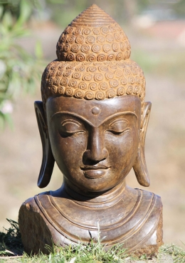 Stone Garden Buddha Bust with Long Earlobes 24