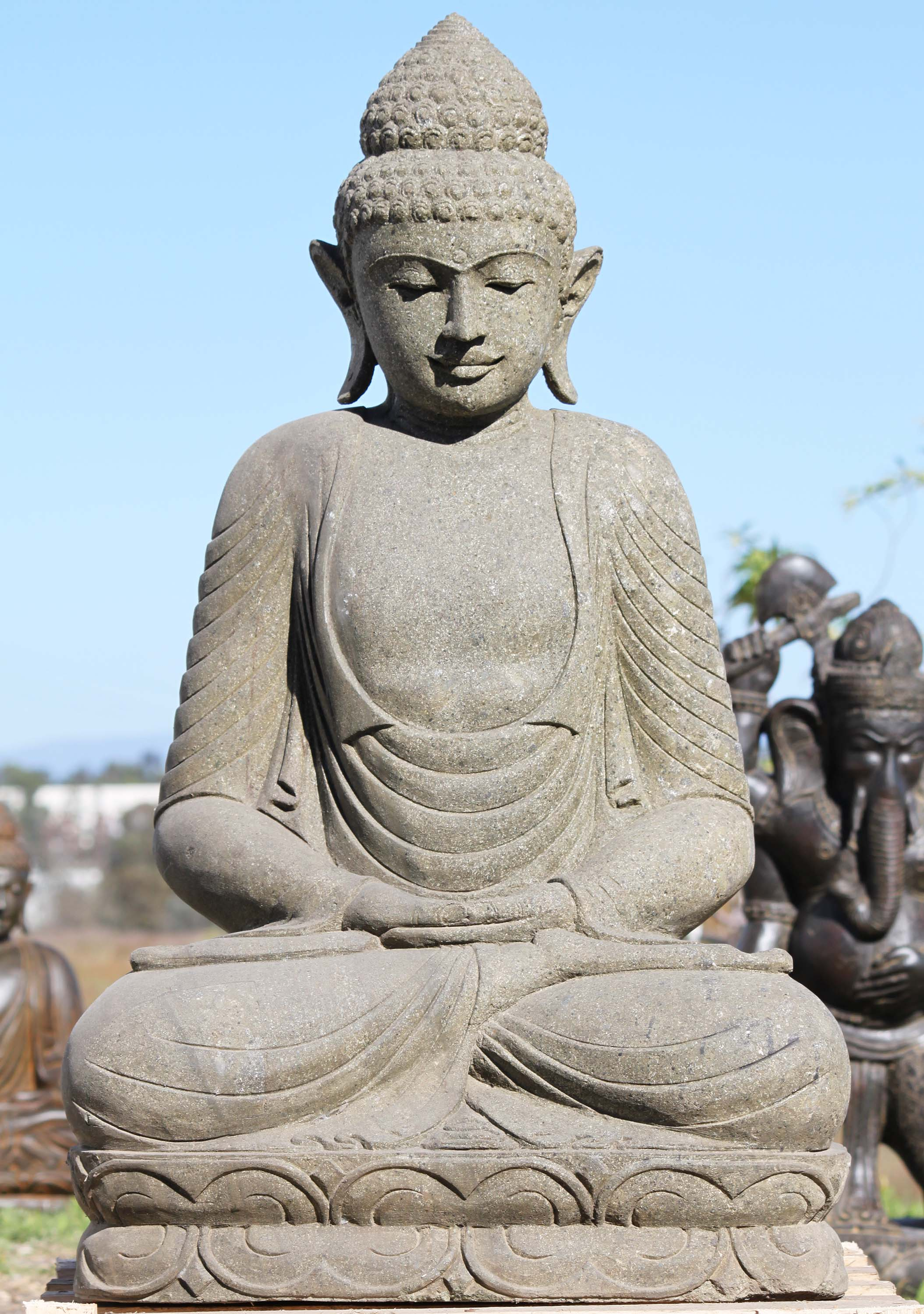 """What Is Freight Shipping >> SOLD Stone Meditating Buddha Sculpture 40"""" (#96ls193): Hindu Gods & Buddha Statues"""
